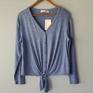 Everleigh Blue Striped Long Sleeve Tie Front Top S